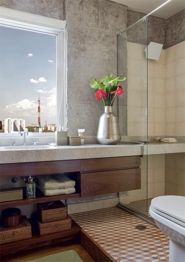 blog de decoração  Arquitrecos Tijolinho e concreto aparente no banheiro C -> Banheiro Pequeno De Cimento Queimado