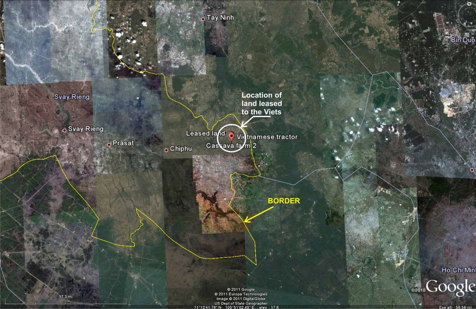 map 1 general location of the land leased with respect to a google earth map of svay rieng province click on each map to zoom in