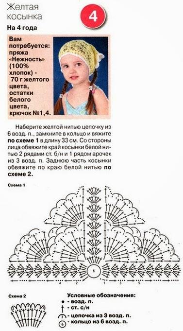 Вязание косынок для девочек крючком 34