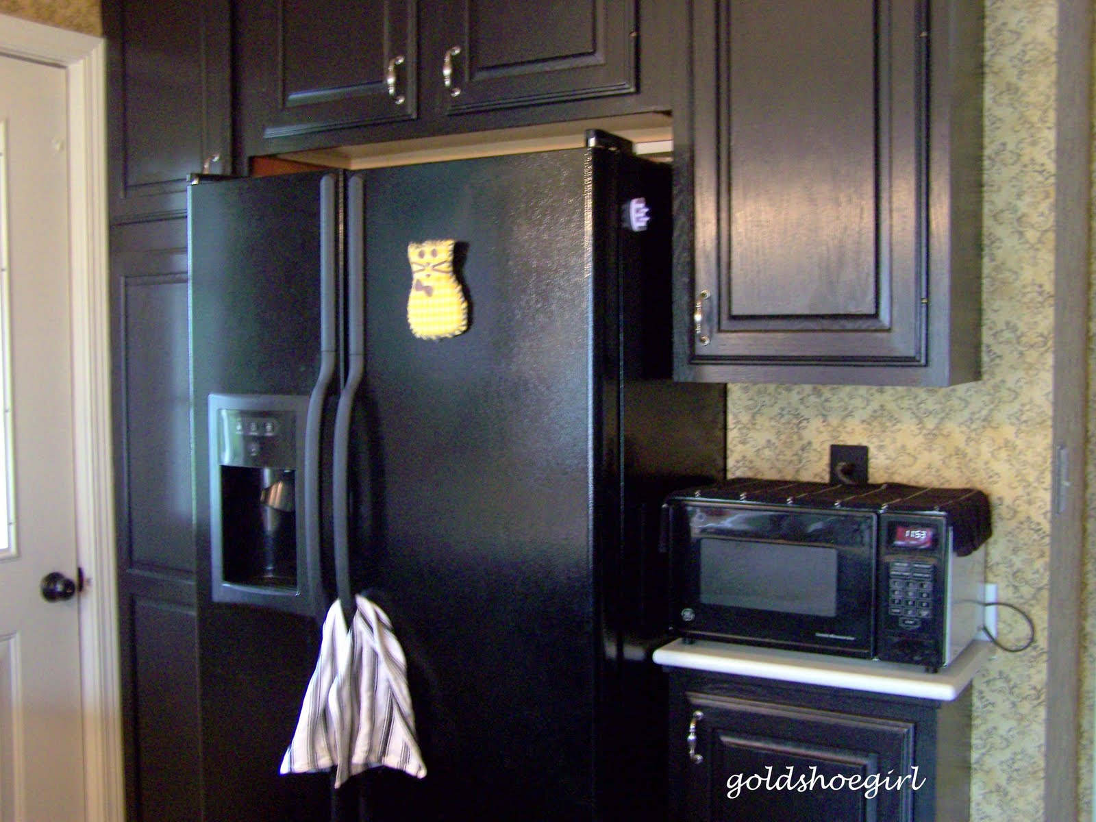 Black cabinets with white appliances girl room design ideas for Kitchen cabinets with black appliances