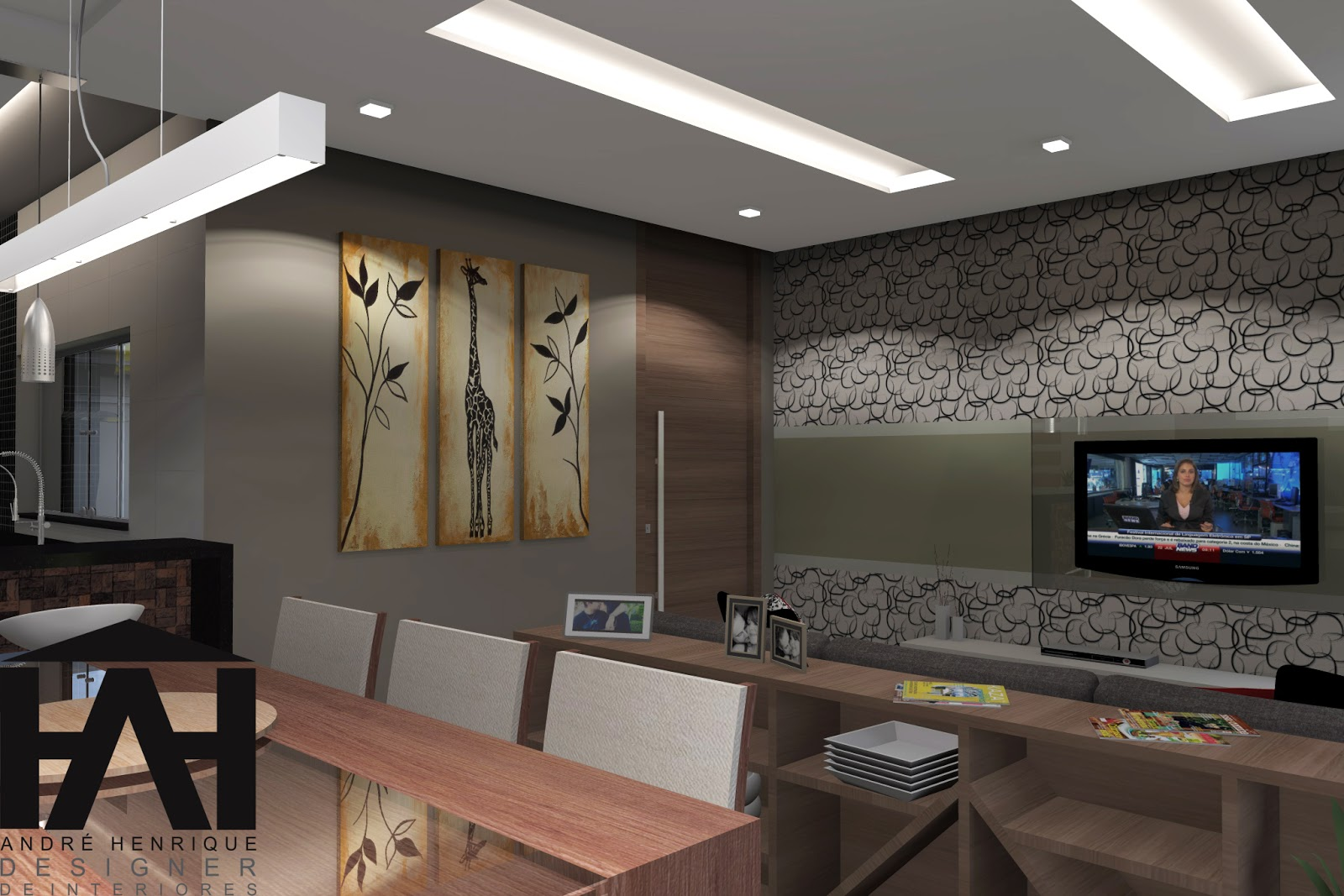 de Interiores : Projeto Residencial ! sala cozinha e sala de  #2D669E 1600 1067