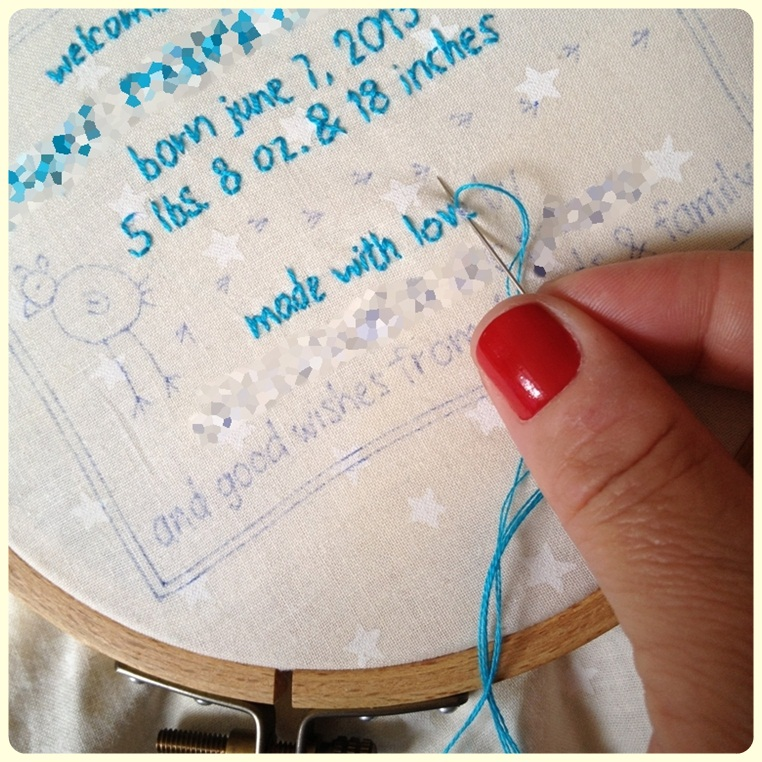 swimming in brine: embroidered quilt label tutorial. : labels for baby quilts - Adamdwight.com
