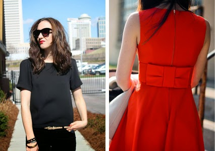 all black outfit, monochromatic outfit, topshop black shirt, kate spade cocktail dress, red jkate spade dress, bow dress