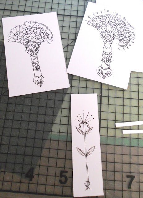 India ink whimsical flower drawings