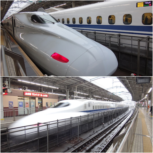 A series of Shinkansen (bullet train) models are running at Osaka (Shin-Osaka Station) station while waiting for my train to Hiroshima in Japan