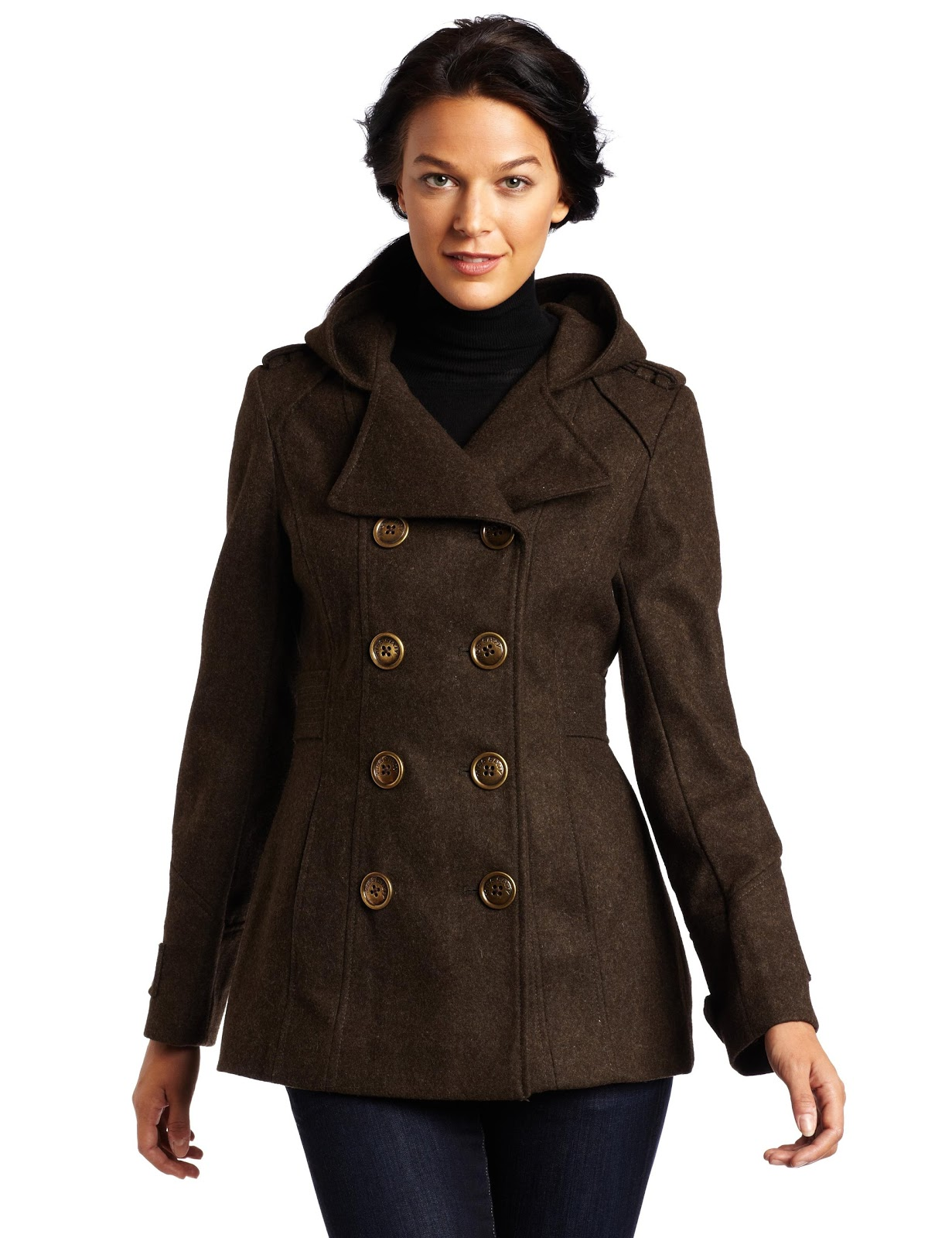 Lime Green Pea Coats: Miss Sixty Womens Double Breasted Hooded Peacoat