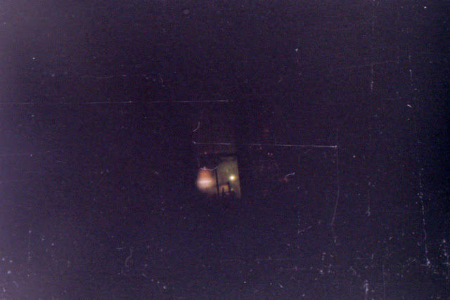 disposable camera, bad exposure, winter, snowfall, snow, winter night