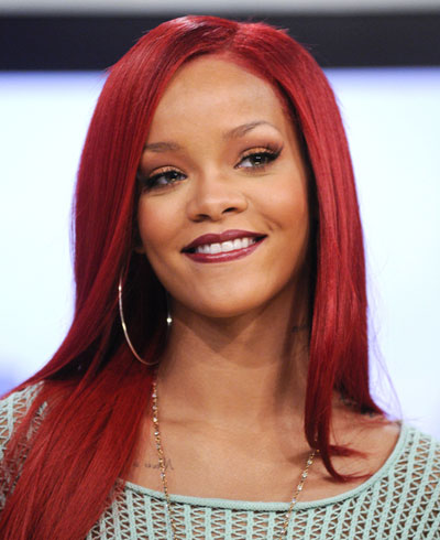 rihanna long red