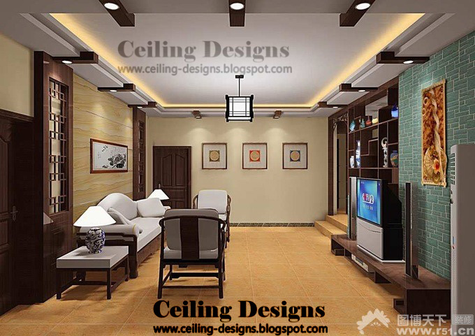 modern false ceiling designs for living room from gypsum and wood