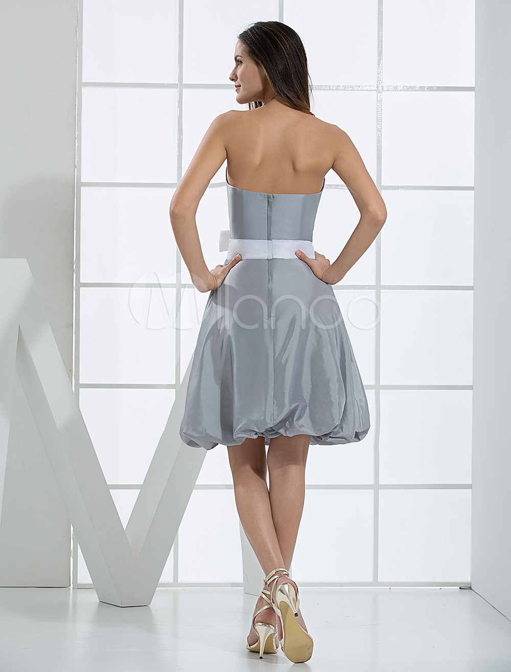 China Wholesale Dresses - Fabulous A-line Strapless Sweetheart Sash Pleated Taffeta Summer Prom Dress