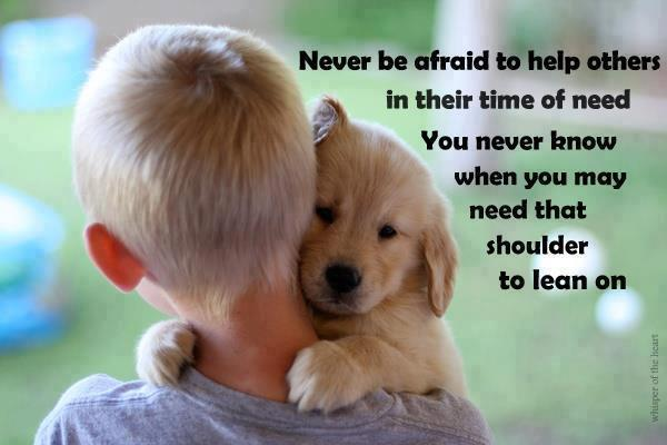 Never be afraid to help others in their time of need you never know when you may need that shoulder to lean on.