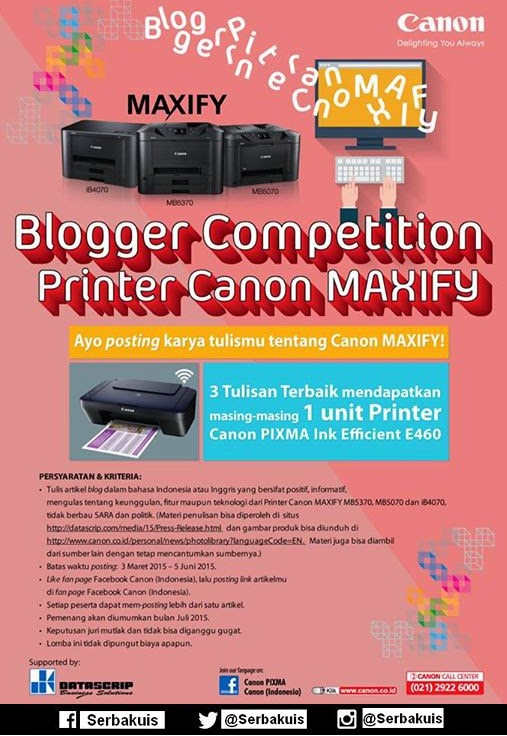 Kontes Blog Printer Canon Maxify Hadiah 3 Printer Gratis