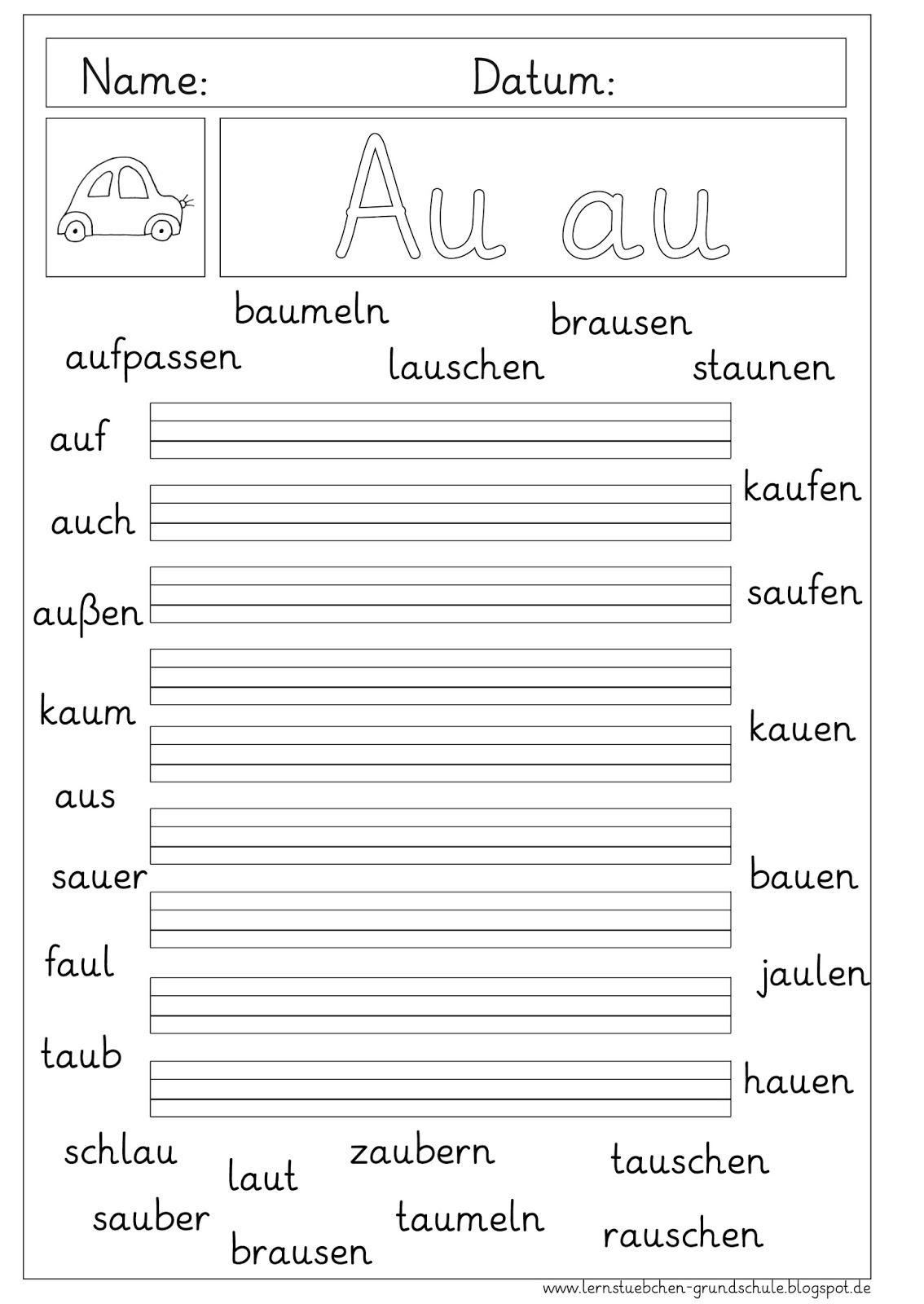 Buchstabe äu Arbeitsblätter : Lernstübchen Übungsblätter zum au
