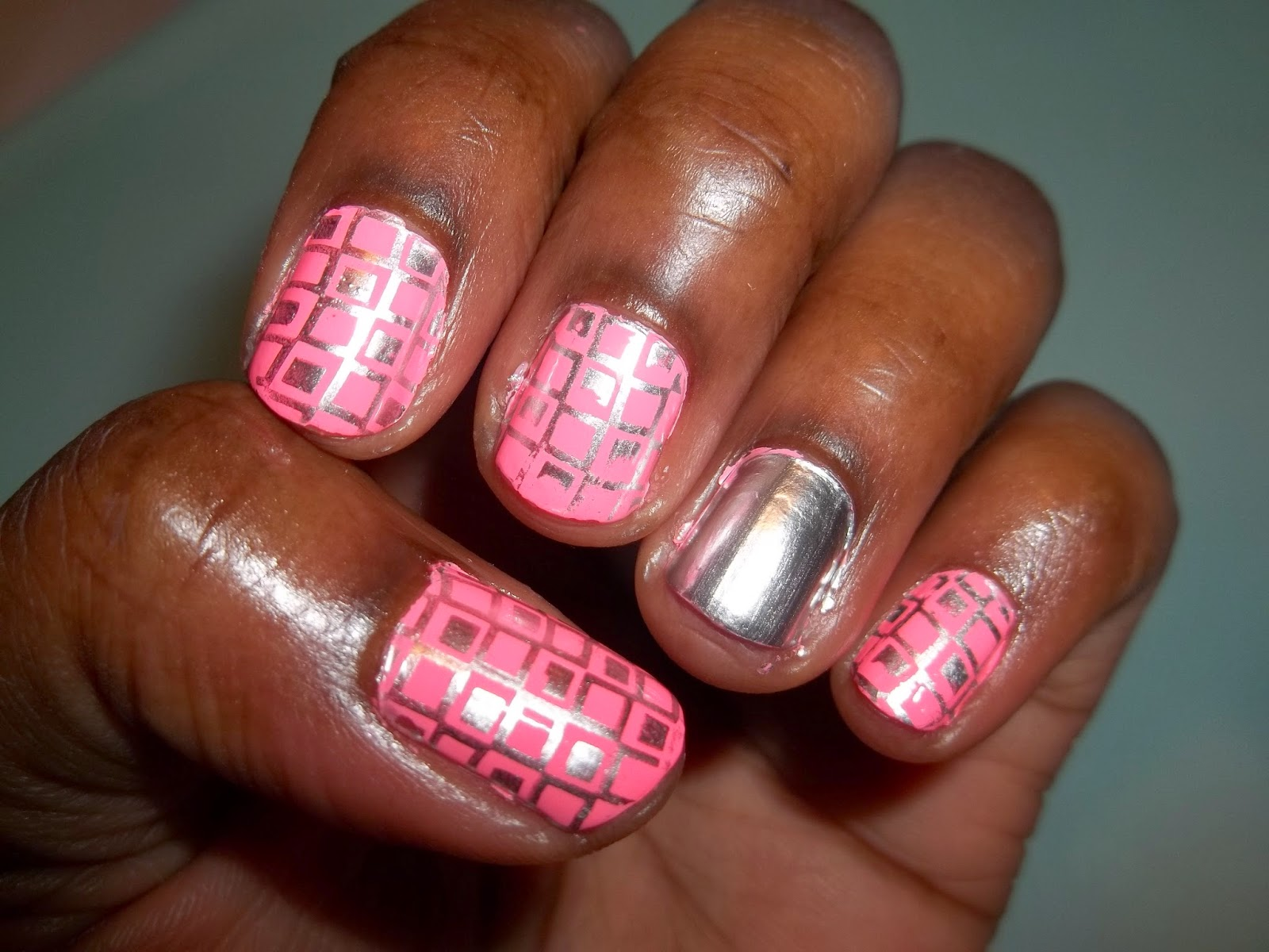 Sally Hansen Color Foil Nail Stamping Demo Manicure using OPI 'Shocking Pink' stamped with 'Sterling Silver', and a 'Sterling Silver' accent nail