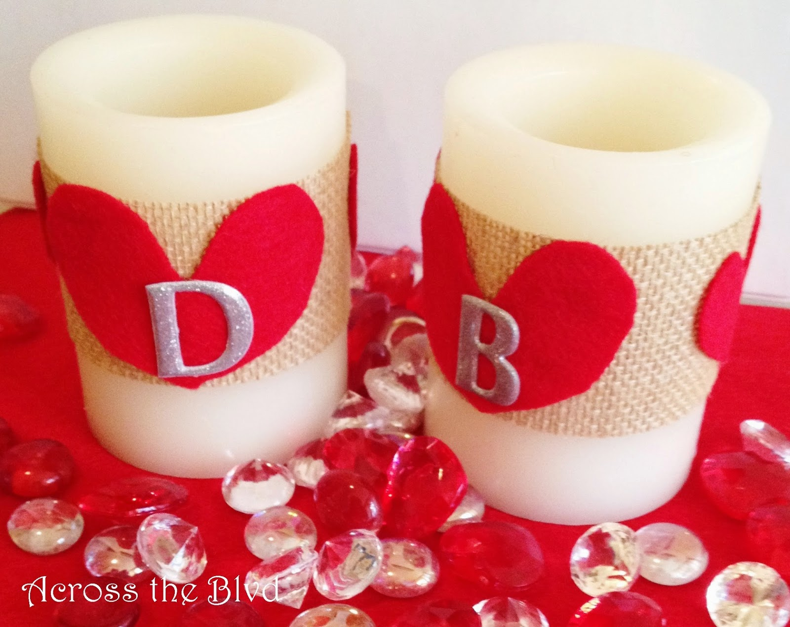 Burlap and Heart Candle Wraps for Valentine's Day