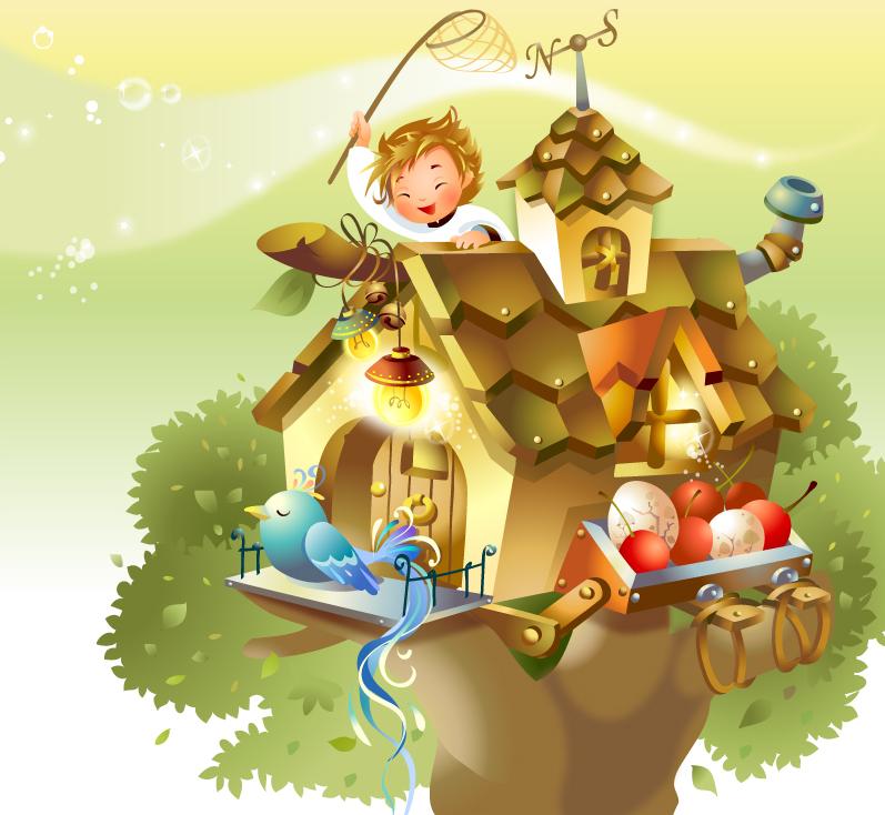 鳥のお家で子供が遊ぶイラスト house cartoon characters a small tree イラスト素材