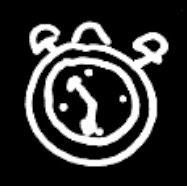 Reloj dibujado en trazos blancos sobre fondo negro ©Selene Garrido Guil