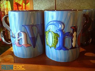 Souvenir coffee mugs from SeaWorld in San Diego, California