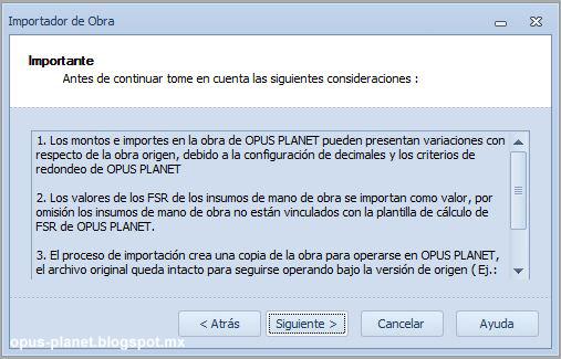 Importar de Opus 2010 a Opus Planet