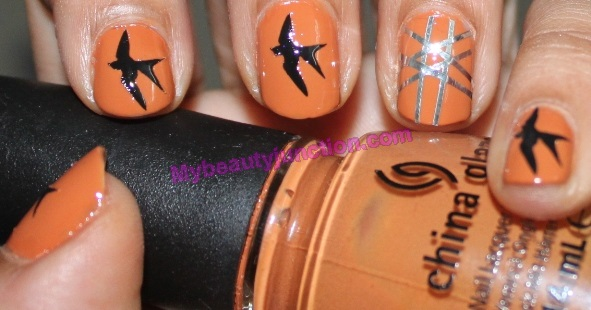 Summer manicure with Bourjois nail art kit and China Glaze Desert Sun