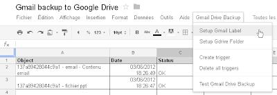 Menu Gmail Drive Backup