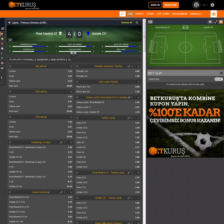 Betkurus Live Betting Offers