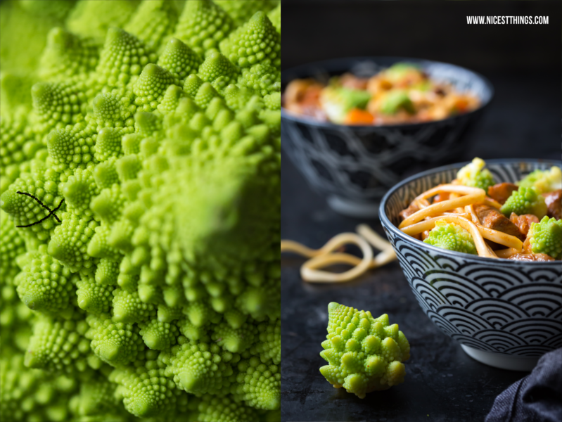 Recipe for Asian Soba Noodles with Kimchi, Romanesco and Chicken