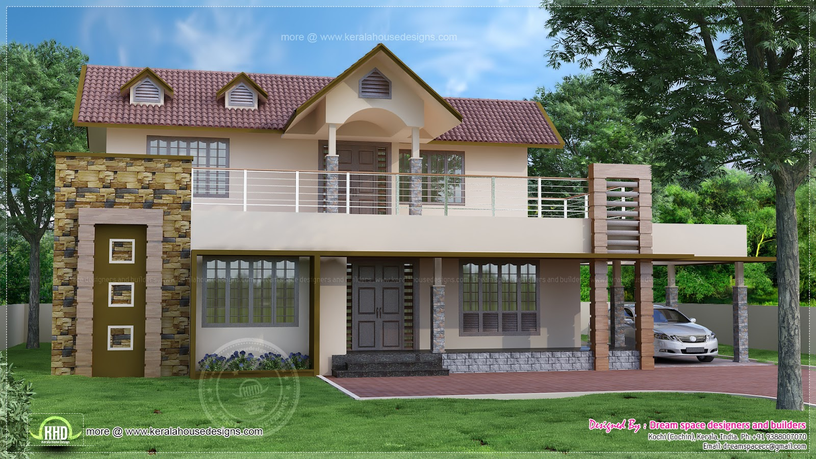 4 bedroom two storey villa exterior house design plans for Exterior design of 2 storey house