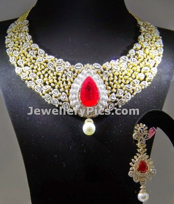 Ruby adorned pretty bridal necklace