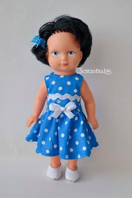 платье для куклы в горошек, куклы ГДР