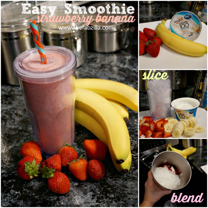 How to make strawberry banana smoothie, easy smoothie recipe