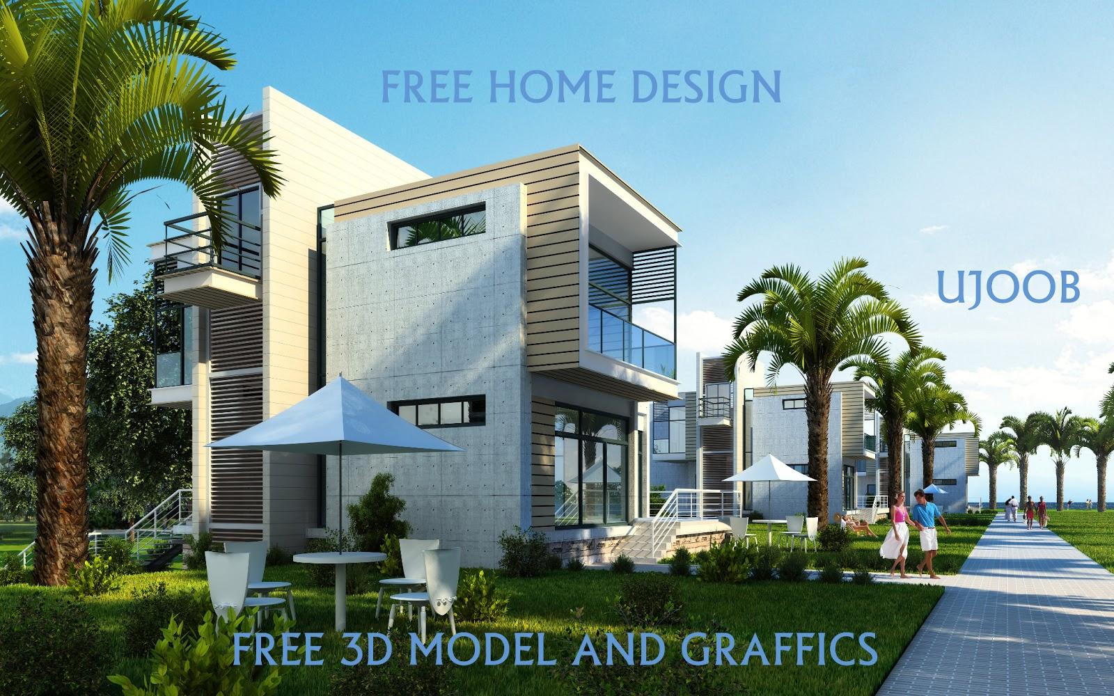 FREE HOME DESIGN: FREE EXTIRIOR HOME 3D MAX VRAY