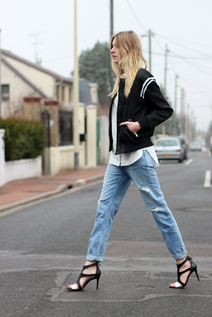 Camille over the Rainbow / Sandro bomber jacket and boyfriend jeans