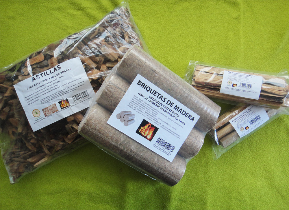 Astillas, briquetas y teas de madera