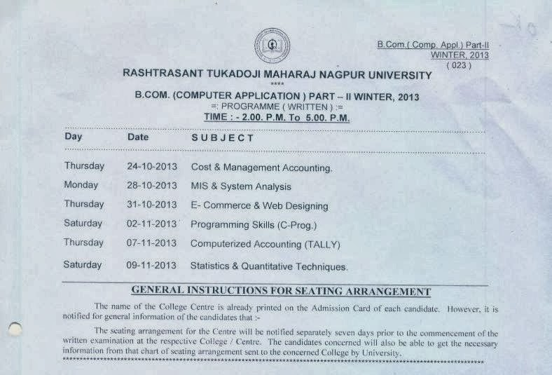 Nagpur university time table 2013 winter exam rtmnu time for Rtmnu time table 4th sem