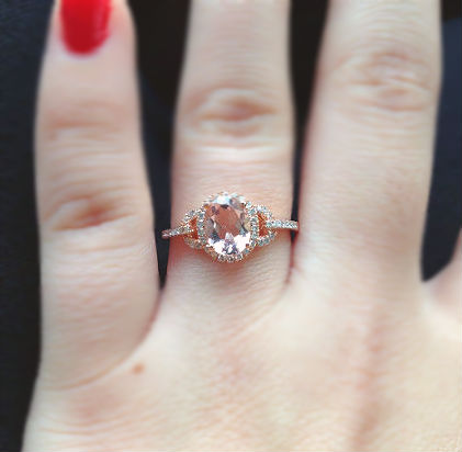and non diamonds rose engagement morganite bridal clear rings wedding unique without pin gold ring diamond