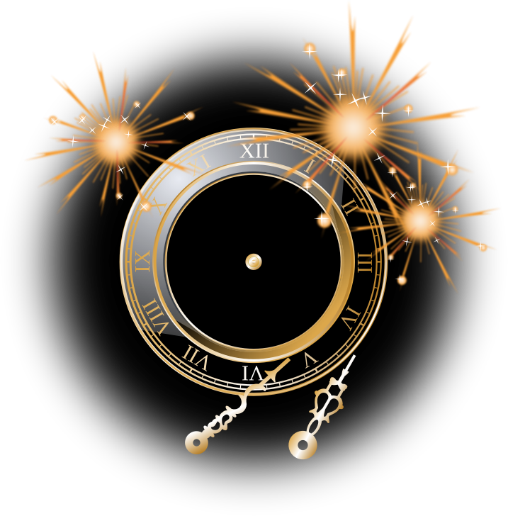 A Roman numeral clock dial with fireworks in a black background.