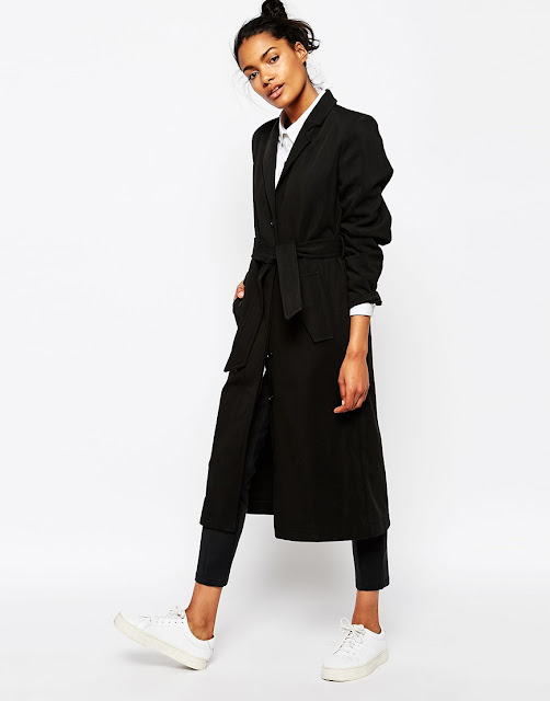 wood wood black coat, black maxi wool coat,