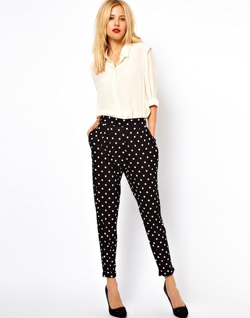 spotty peg trousers
