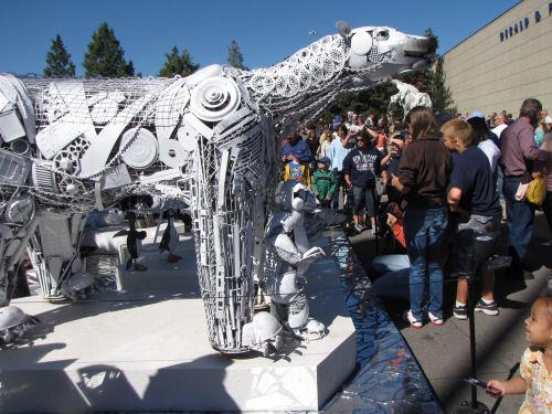 polar bear sculpture made from recycled junk