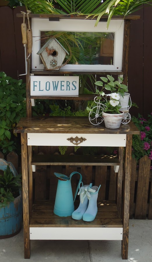 Vintage Window Potting Bench - Available $225