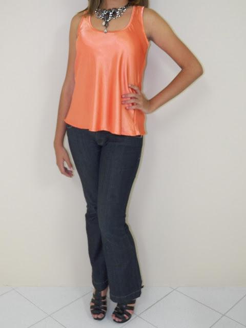Blusas de Cetim laranja