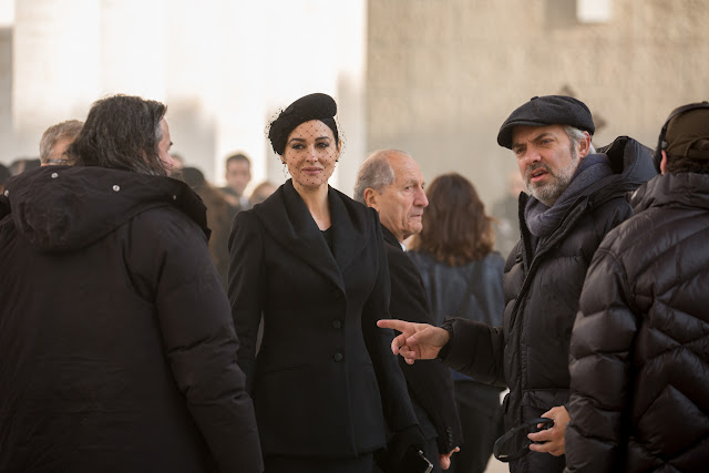 Monica Bellucci and Director Sam Mendes on the set of Metro-Goldwyn-Mayer Pictures/Columbia Pictures/EON Productions' action adventure SPECTRE