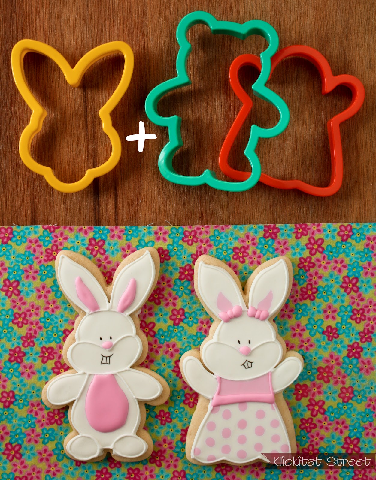 Easter bunny rabbit cookies made by combining bunnny face cookie cutter with a ghost and bear