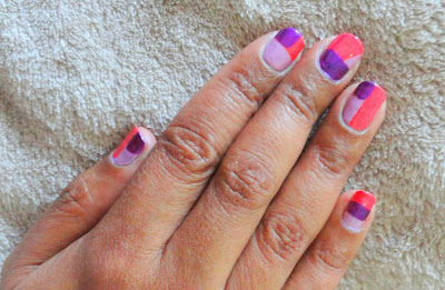 Color block nails using three colors