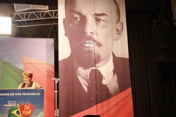 """O """"Perigo Vermelho"""" Dilma+Lenin+13+Congresso+PCdoB"""