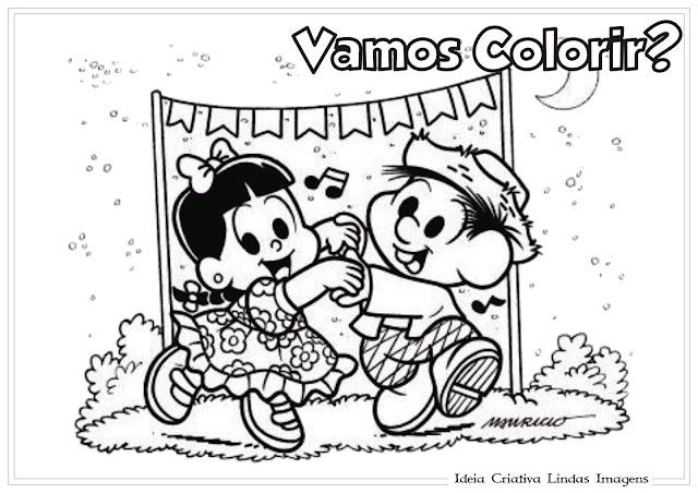 Desenho de Festas Juninas/ Turma da Mônica para colorir