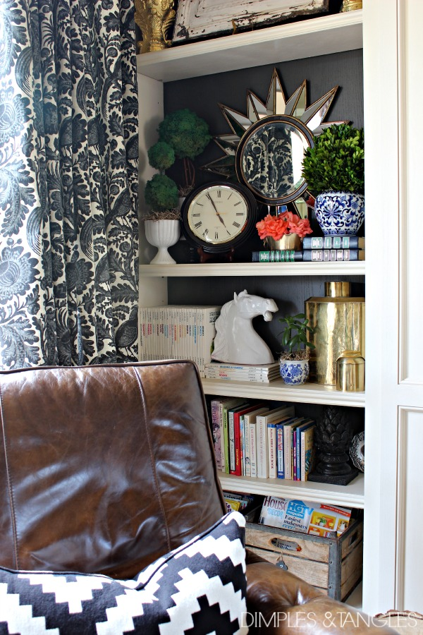 Sherwin Williams Urbane Bronze, bookshelf styling, bookcase painted backs, waverly Williamsburg fabric