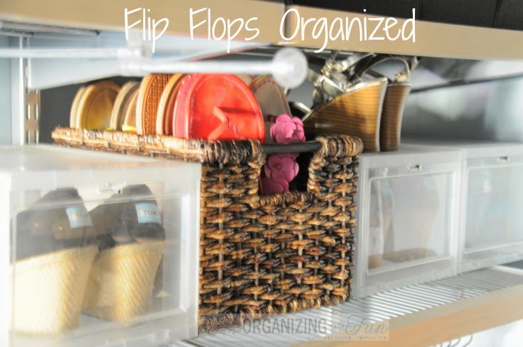 Flip flops organized with simple basket :: OrganizingMadeFun.com