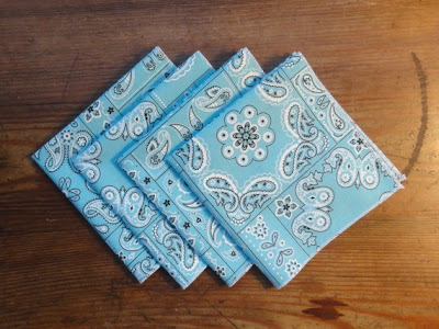 Turquoise Bandana Cocktail Napkins set of 4 by ShastaCreations